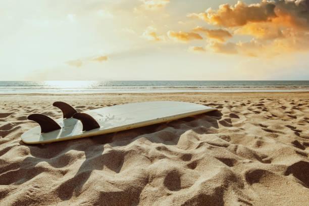 Surfboard on beach background at sunset. stock photo