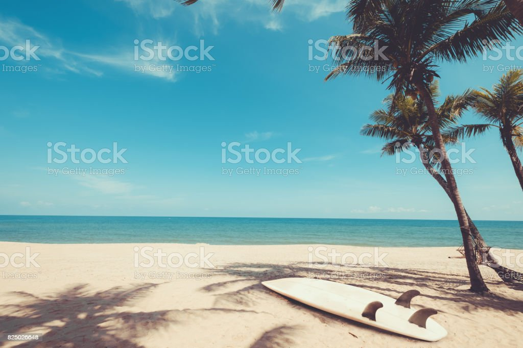 Surfboard on tropical beach stock photo