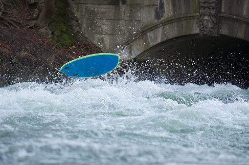 2020-01-12 - A surfboard out of the Eisbach river in Munich, Germany