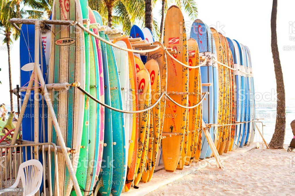Surfboard Rental on Waikiki Beach, Honolulu, Hawaii, USA stock photo