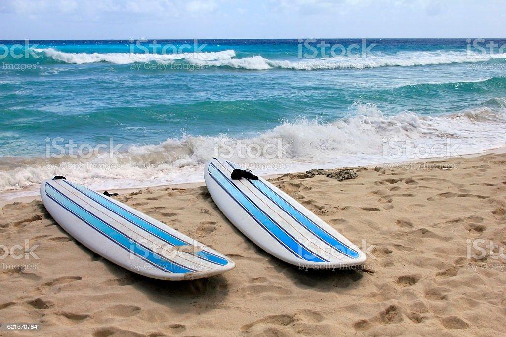 Planches de surf à la plage photo libre de droits