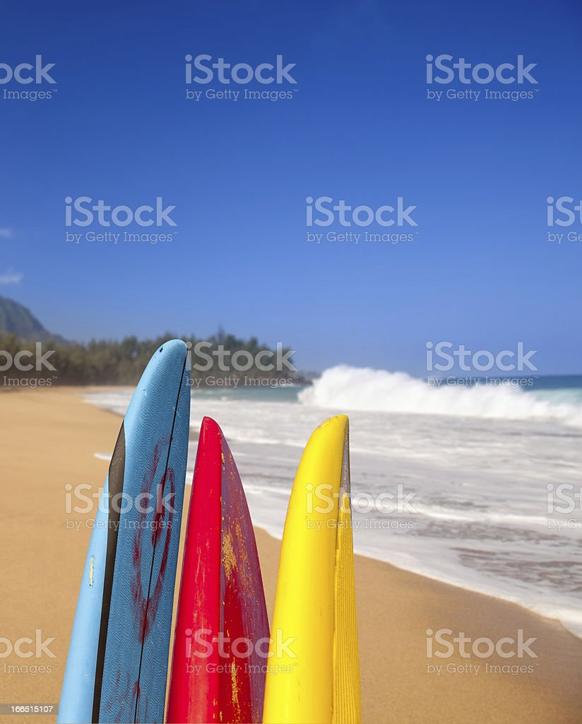 Surfboards at Lumahai beach Kauai royalty-free stock photo