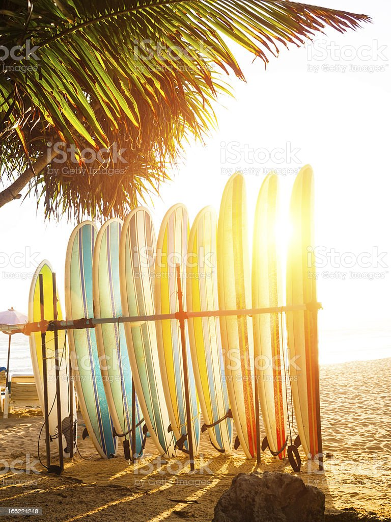 surfboards at ocean beach royalty-free stock photo