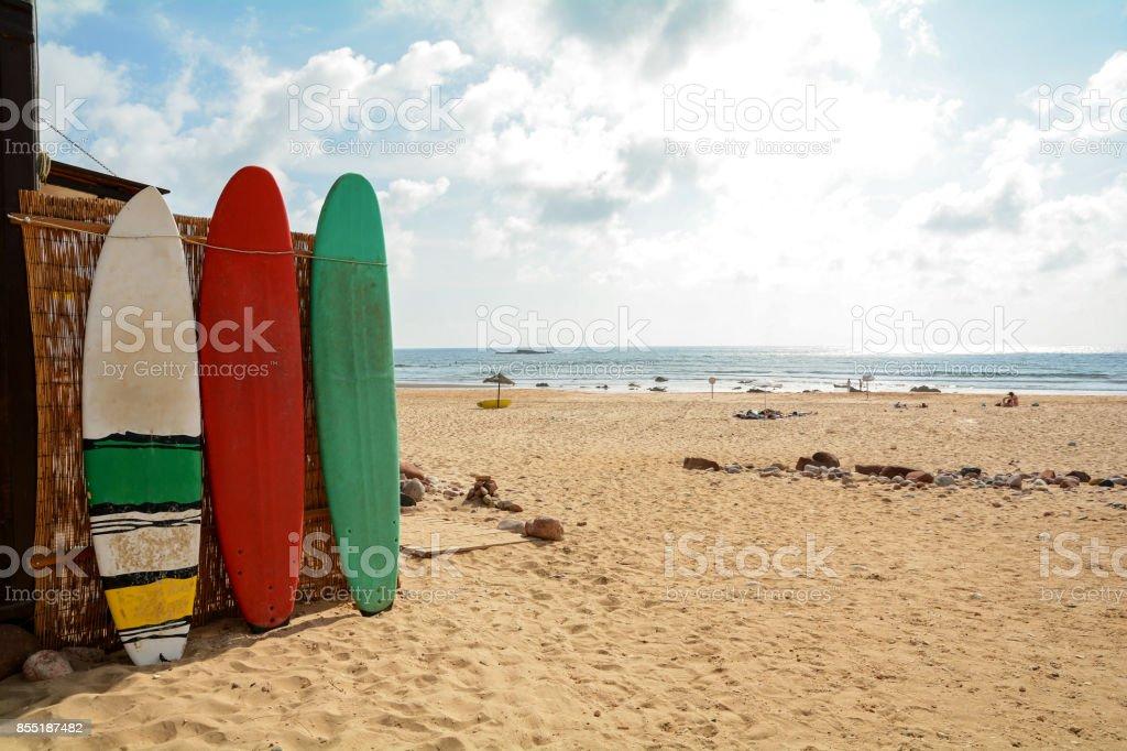 Surfbretter am Praia do Amado, Strand und Surfer vor Ort, Algarve Portugal – Foto