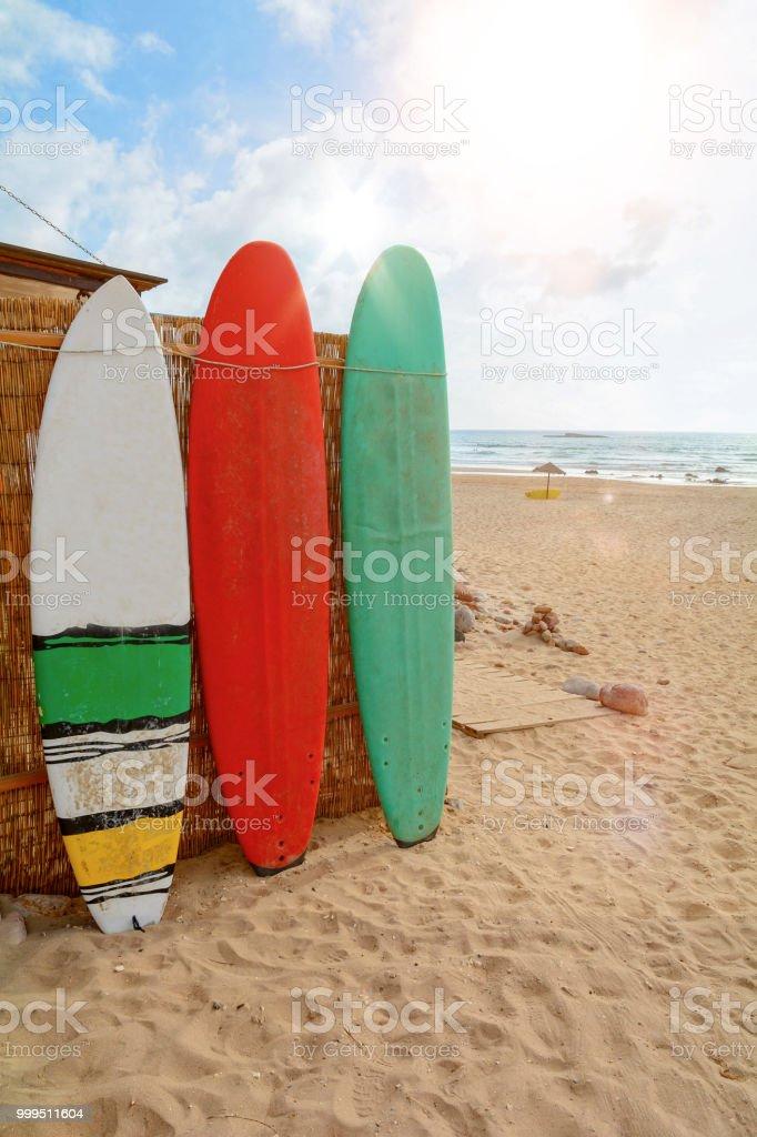 Surfbretter am Praia do Amado, Strand und Surfer vor Ort, Algarve Portugal Europa – Foto