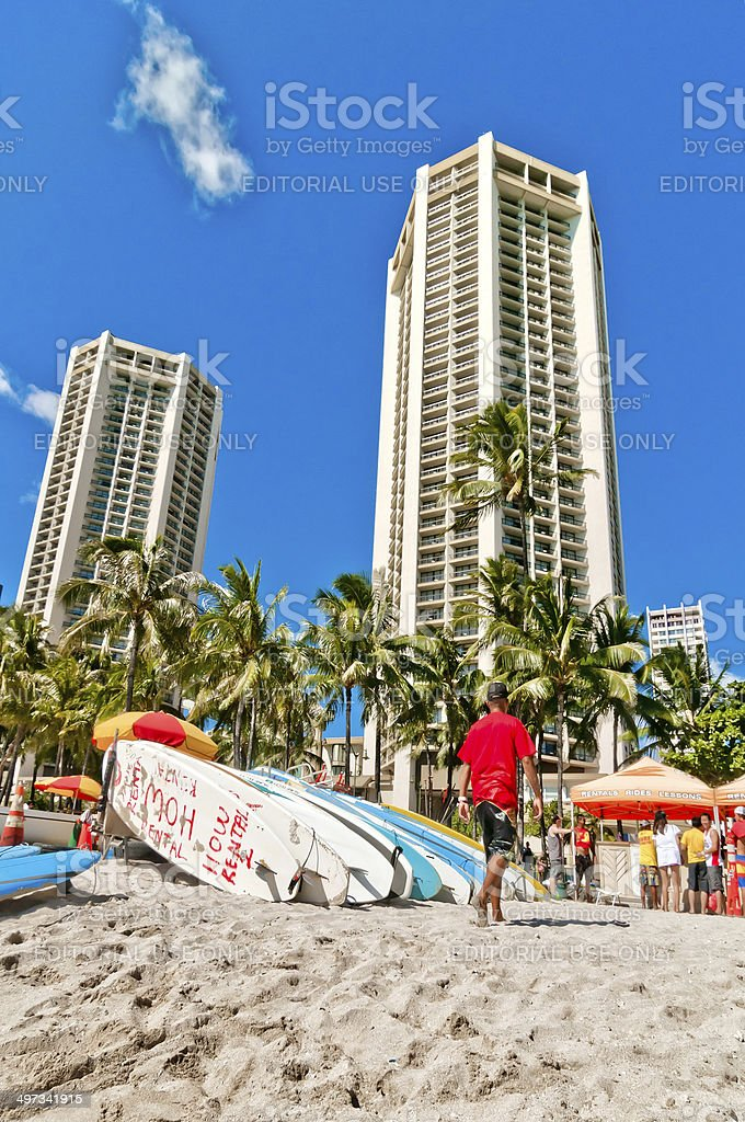 Surfboards At Waikiki Beach Hawaii Stock Photo - Download