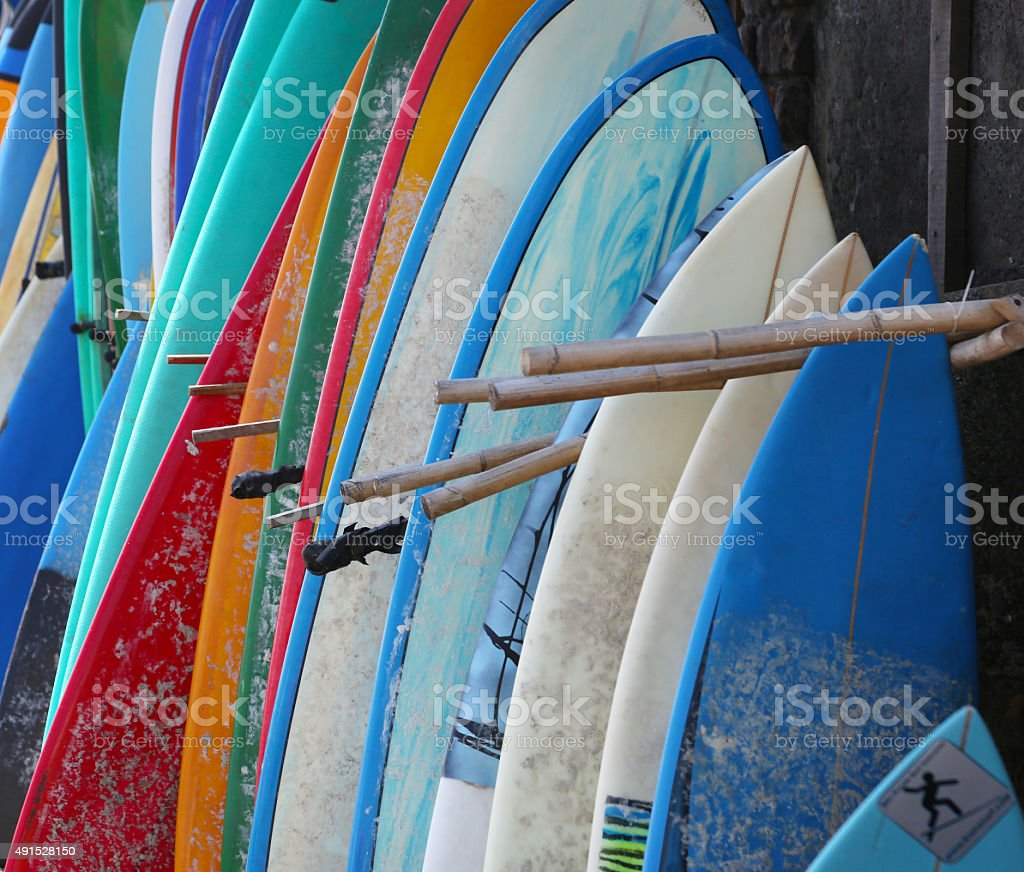 Surfboards background stock photo