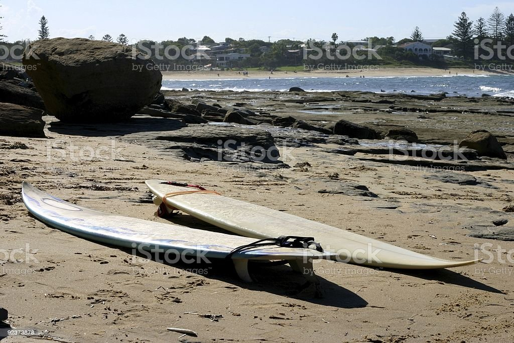 Surfboards on Beach royalty-free stock photo