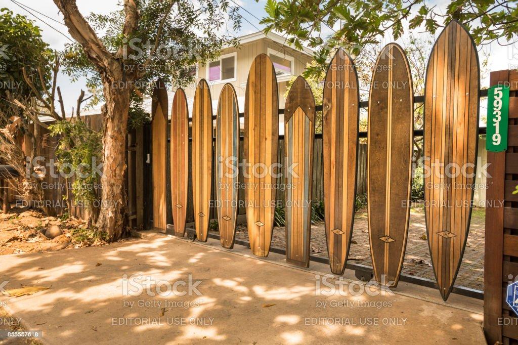 Surfboards on Sunset Beach North Shore Oahu Hawaii stock photo