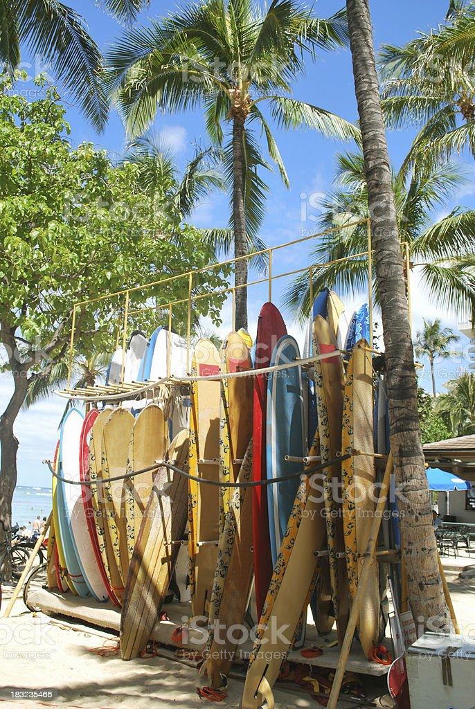 Surfboards on Waikiki Beach, Hawaii. stock photo