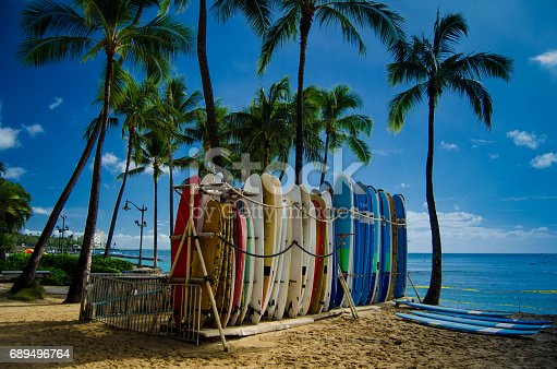 Surfboards on famous Waikiki beach, Honolulu, Hawaii.