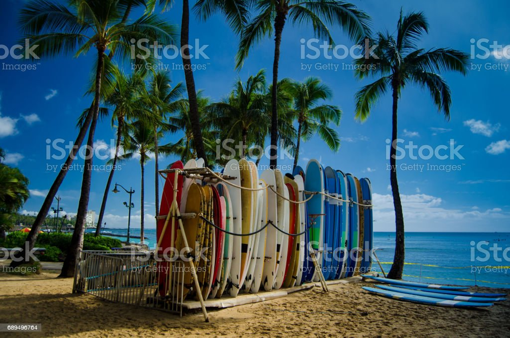 Surfboards on Waikiki beach stock photo