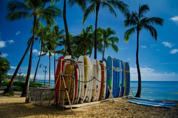 Surfboards on Waikiki beach stock photo