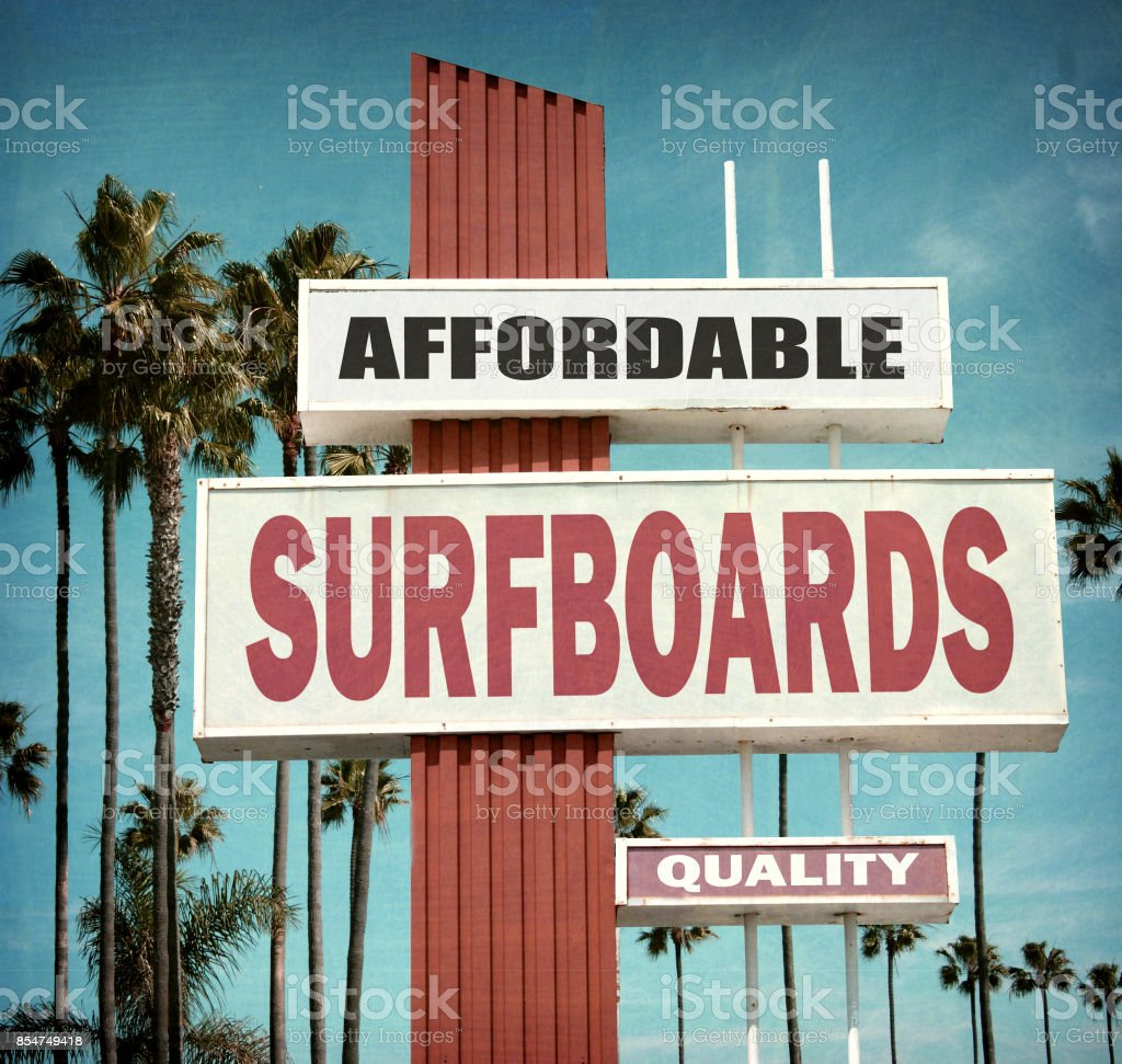 surfboards sign stock photo