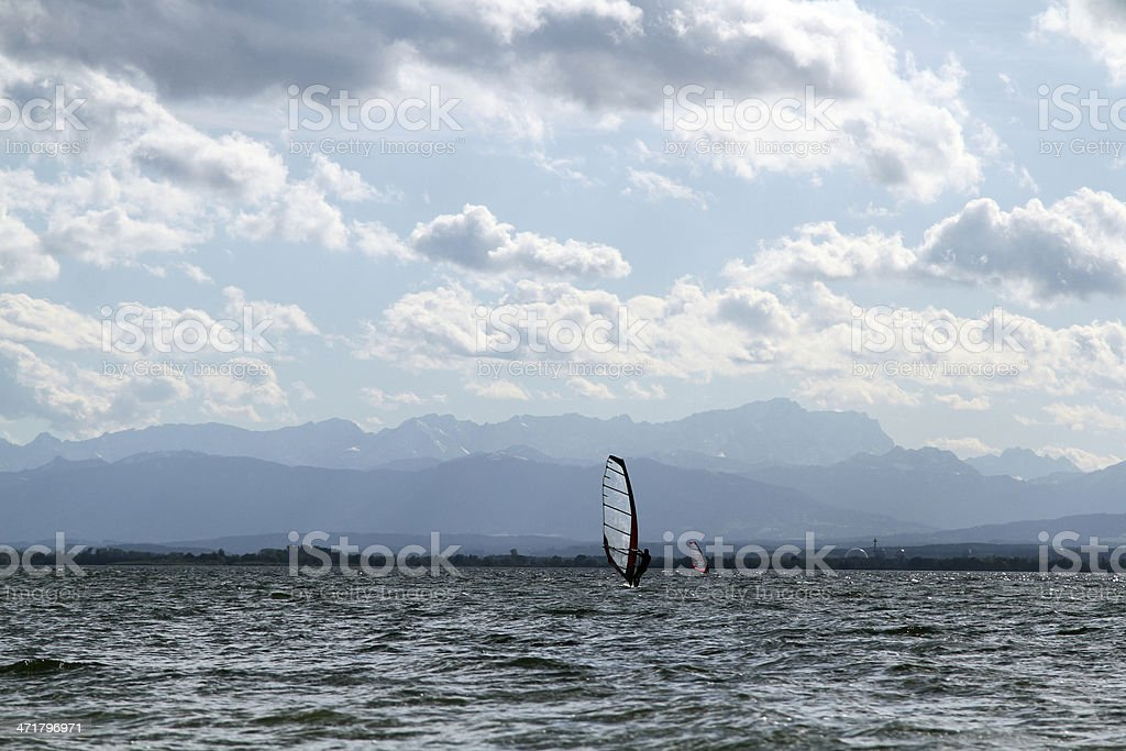 surfer ammersee mountain view stock photo