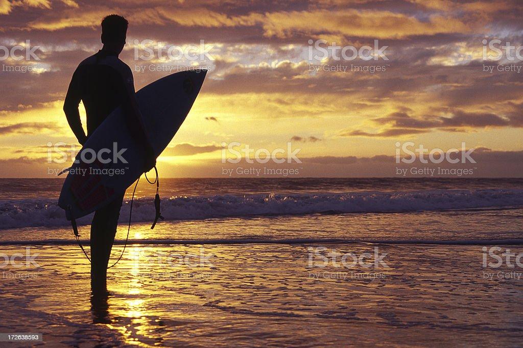 Surfer at Morro Bay royalty-free stock photo