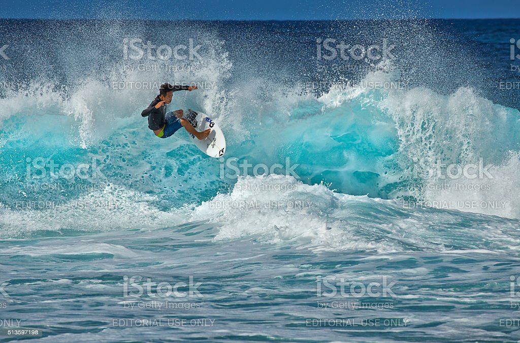 Surfer at Pipeline stock photo