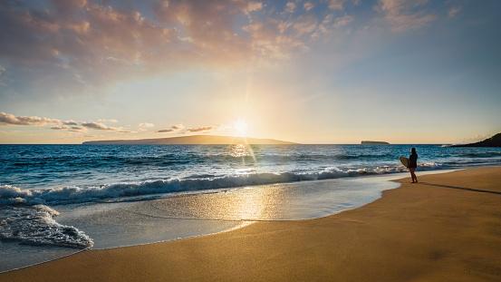 Surfer At The Beach Maui Island Sunset Panorama Hawaii Usa Stock Photo - Download Image Now