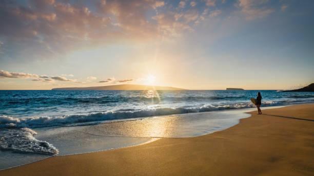 Surfer at the Beach Maui Island Sunset Panorama Hawaii USA stock photo