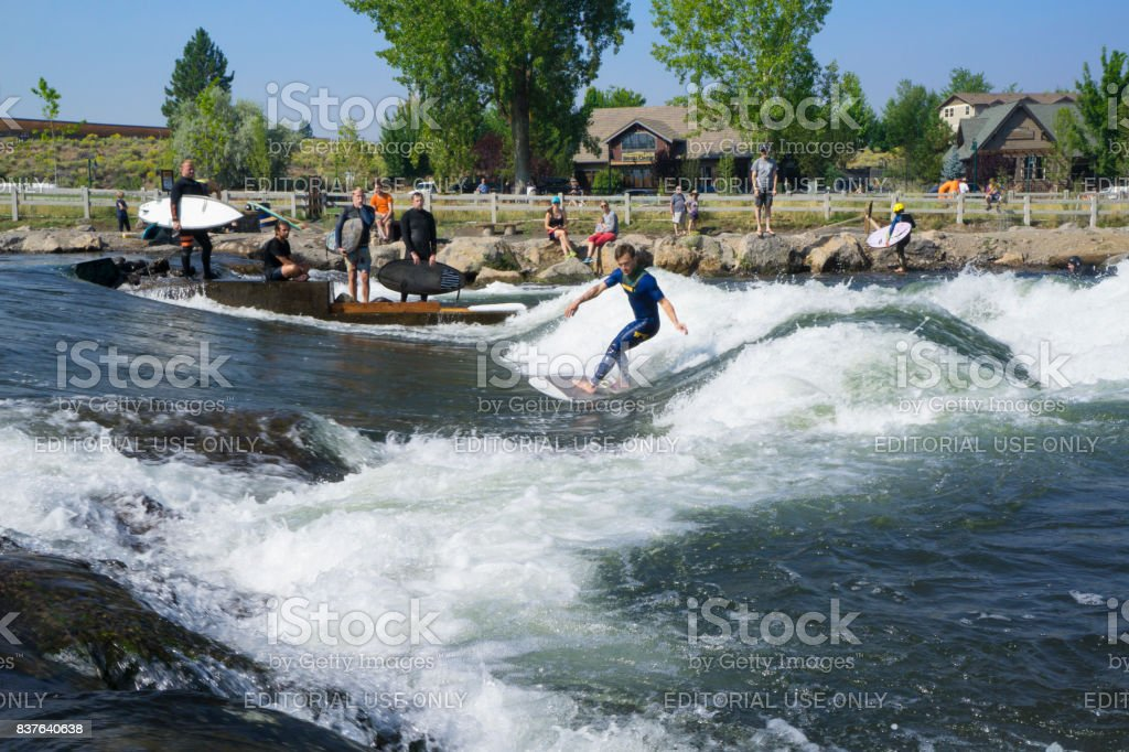 Surfer at the Bend,Oregon Colorado Whitewater Park stock photo