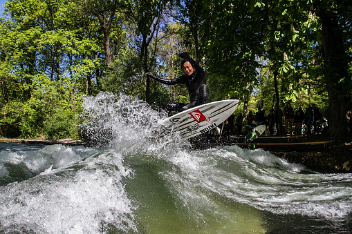 Surfer at the Eisbach in Munich