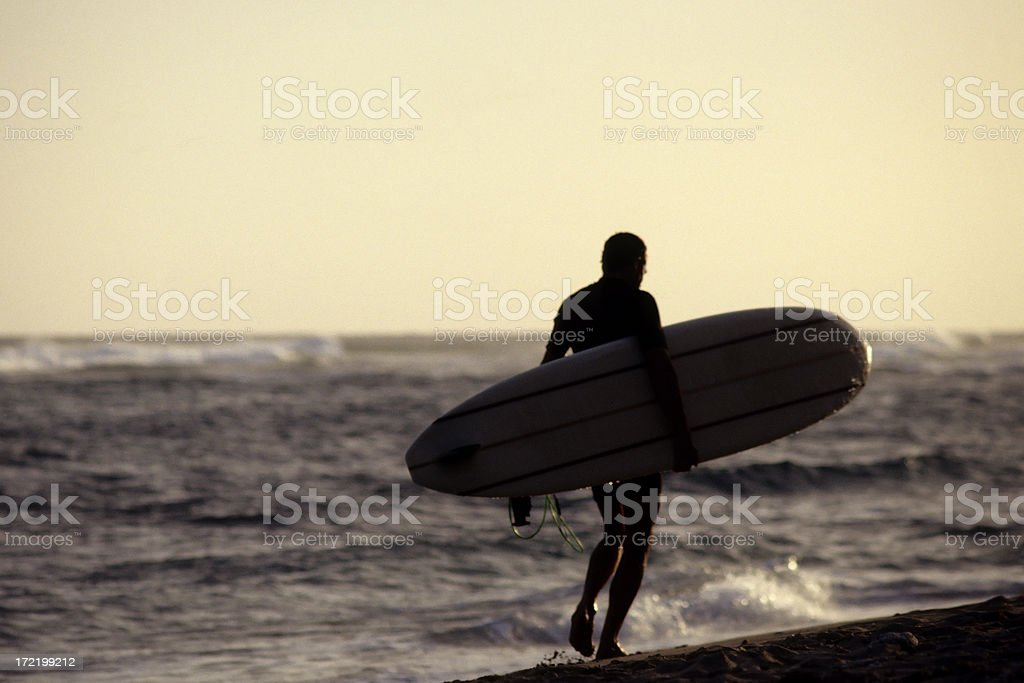 Surfer carrying board royalty-free stock photo