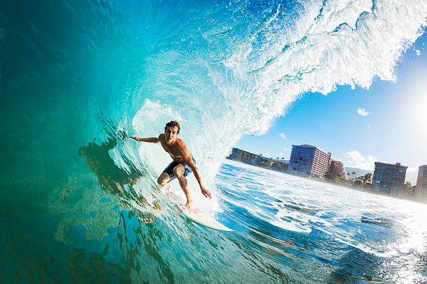Surfer Gettting Barreled​​​ foto
