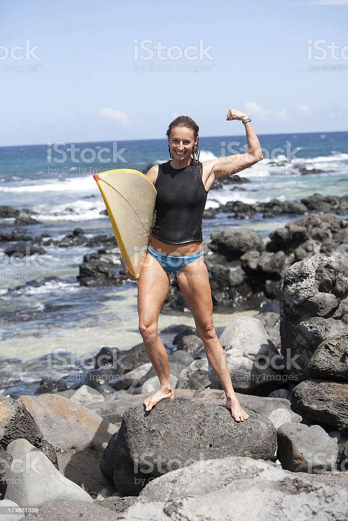 surfer girl at beach royalty-free stock photo