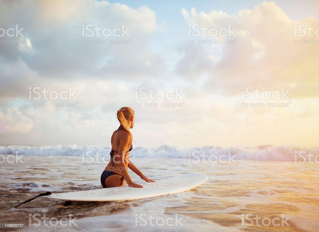 surfer girl stock photo
