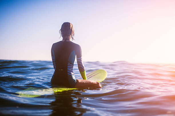 surfer girl surfer girl sitting on surfboard in ocean, sunset. wetsuit stock pictures, royalty-free photos & images