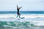 Surfer girl surfing with surfboard on waves in Atlantic ocean. Woman in surfing wet suit is active surfing the waves of cold atlantic ocean in Galicia, Spain.