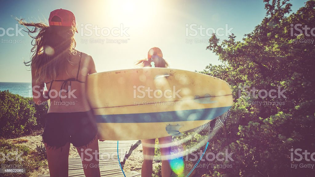 Surfer girls by the sea stock photo
