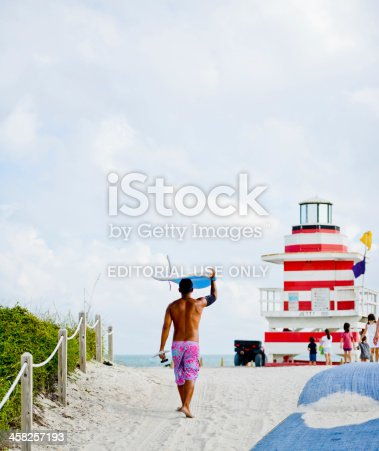 Miami Beach, USA  - January 5, 2013: Surfer going to the beach carrying his surfboard on his head.