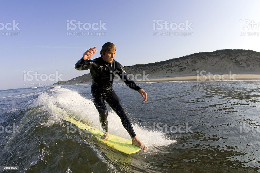 Surfer hanging five royalty-free stock photo