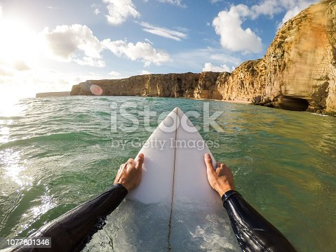 Surfer holding a surfboard in water