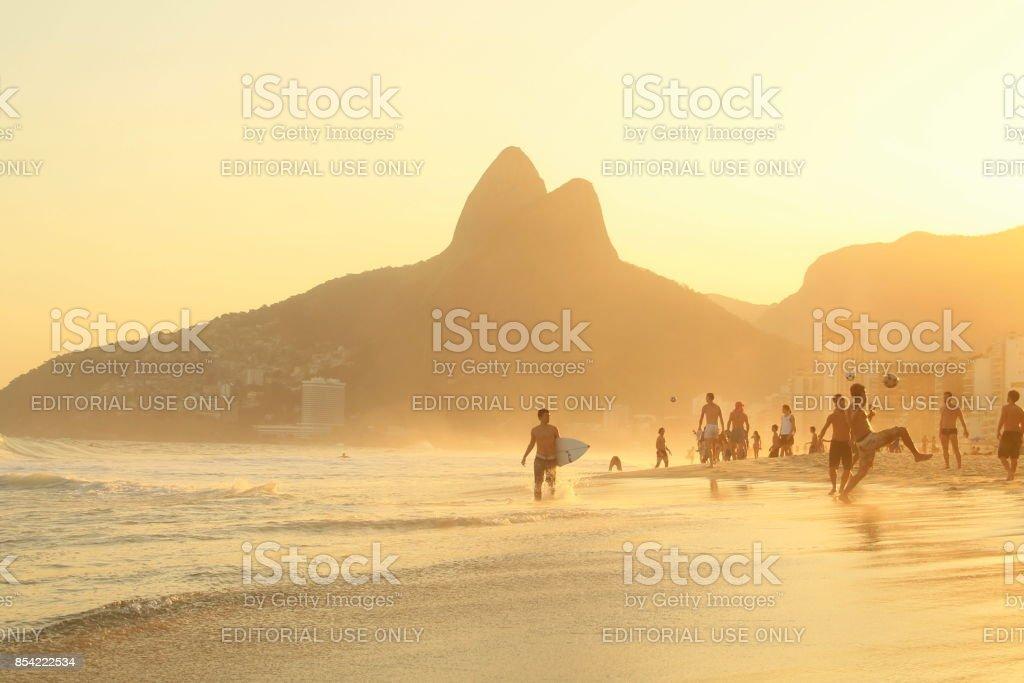 Surfer in Ipanema beach stock photo