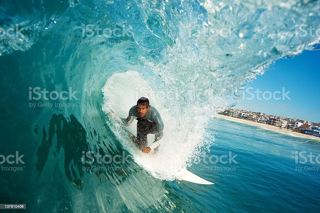 Surfer in the Barrel royalty-free stock photo