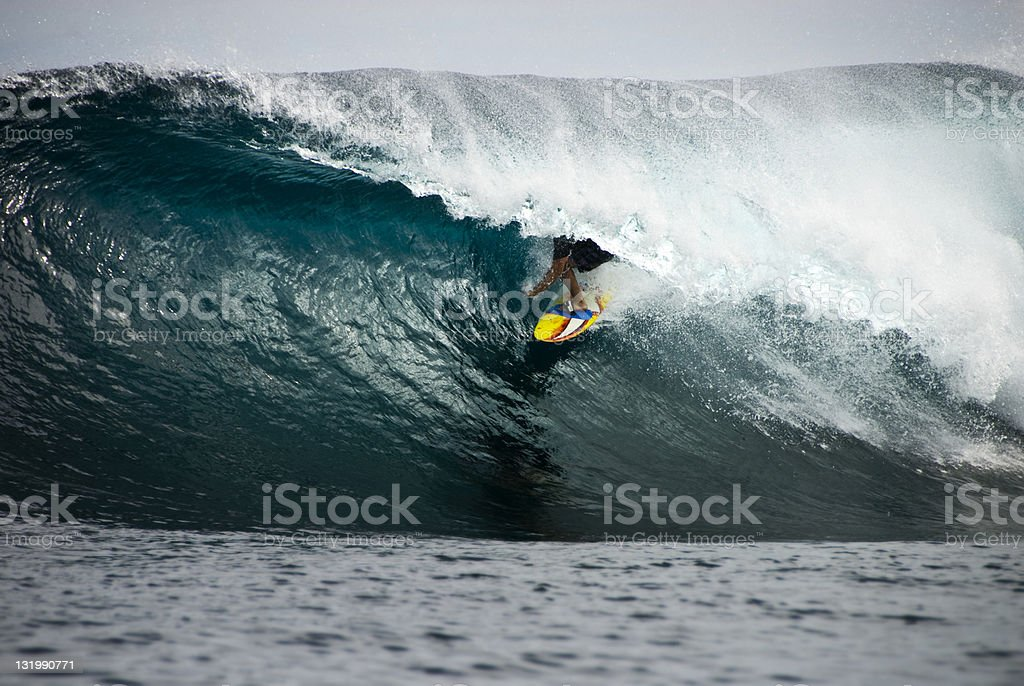 Surfer in the Tube stock photo