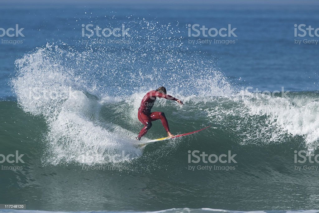 Surfer on a big wave royalty-free stock photo