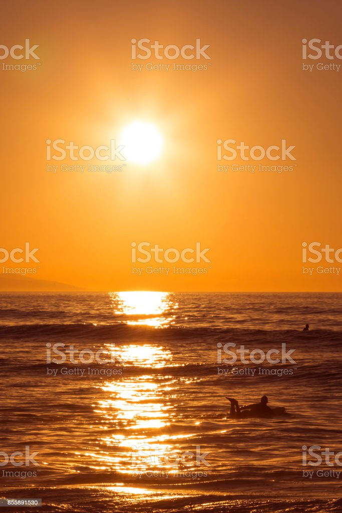 Surfer paddling in the sea at sunset stock photo