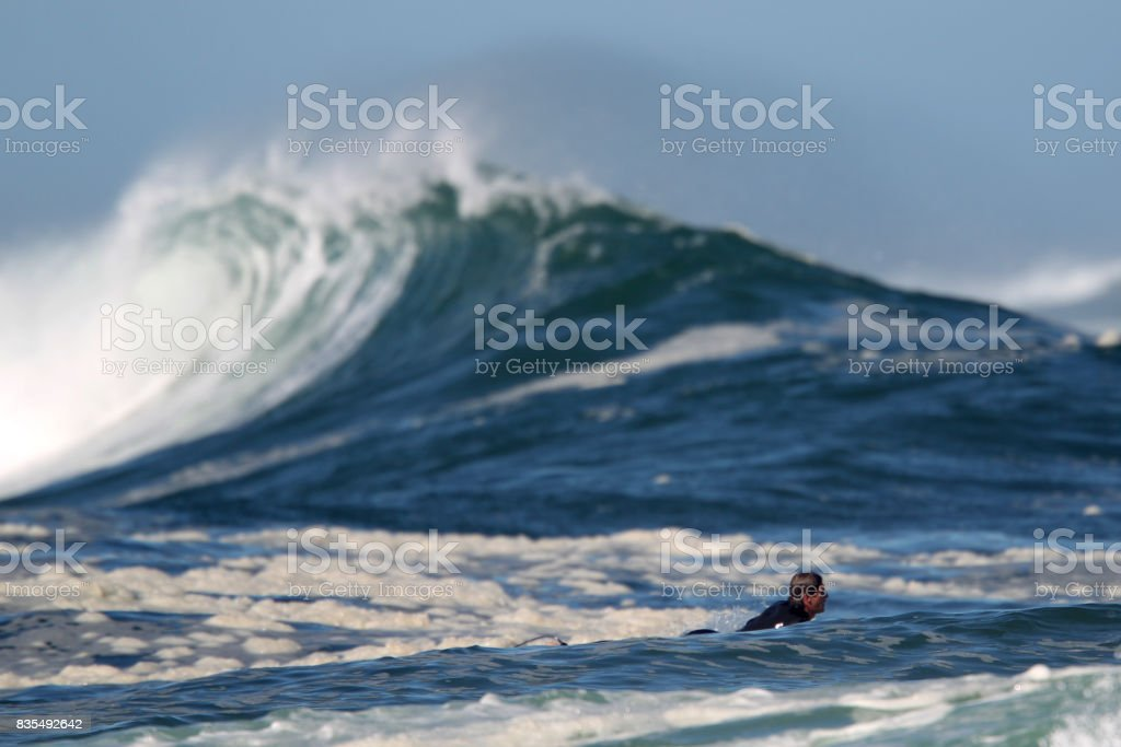 Surfer paddling into the ocean with a big wave in the background. stock photo