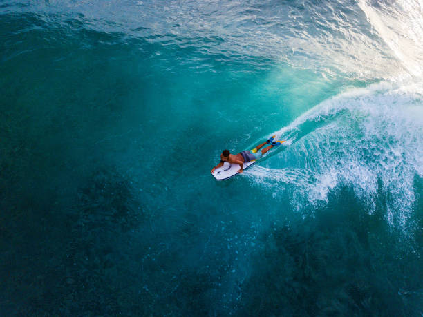 Surfer rides the ocean wave stock photo