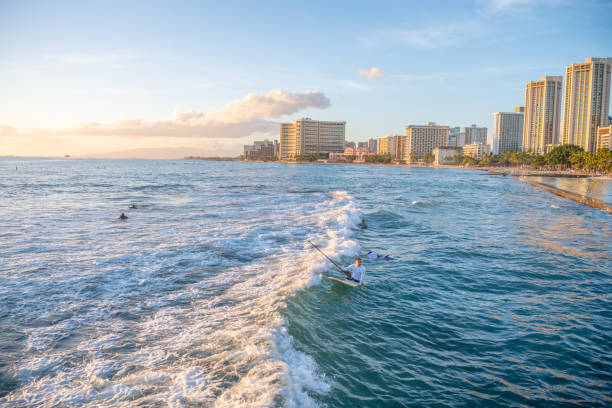 Surfer rides the waves at Waikiki Beach, with the Honolulu skyline in the distance. stock photo