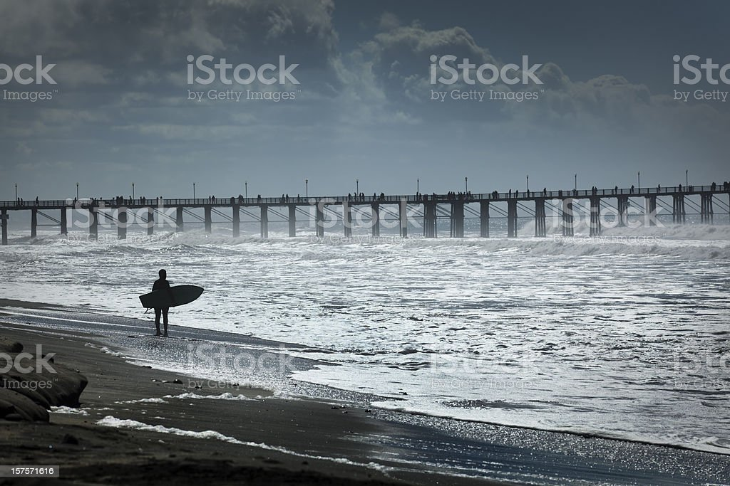 Surfer Surfing the Southern California Coast royalty-free stock photo