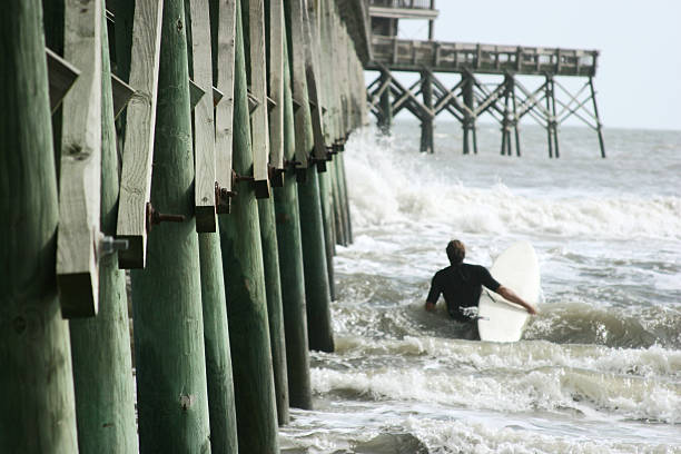 Surfer testing the surf near pier stock photo