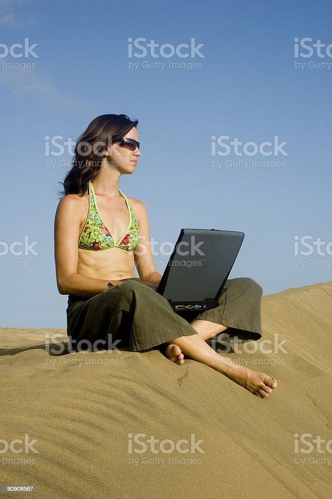surfergirl on laptop2 royalty-free stock photo