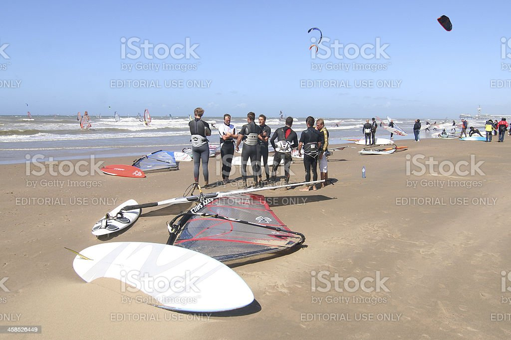 Surfers and Surfboards royalty-free stock photo