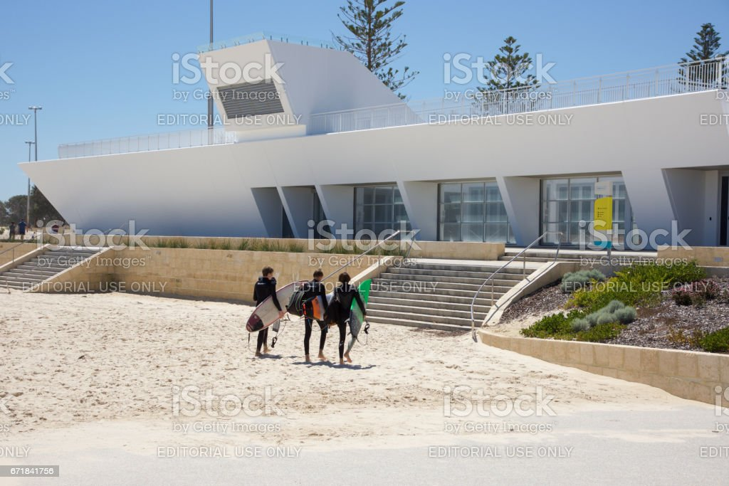 Surfers and the Surf Club stock photo