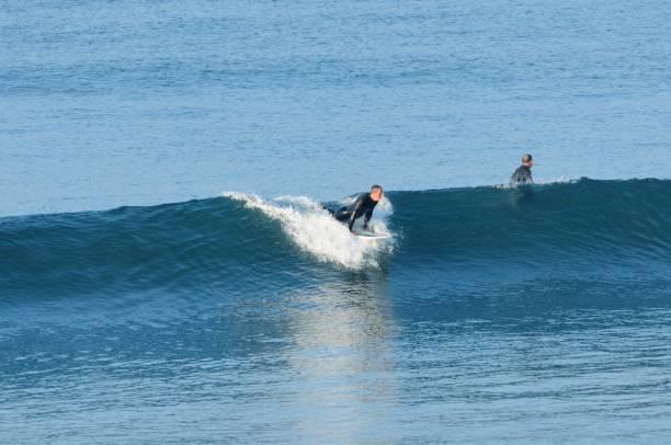 Surfers at Huntington Beach stock photo