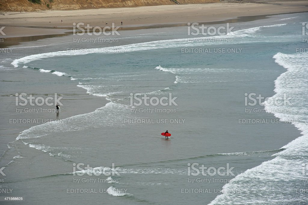 Surfers' at Otter Rock Oregon Beach Surf Waves Surfboard royalty-free stock photo